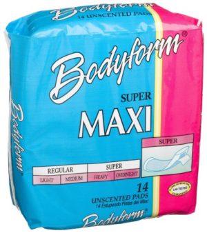 Bodyform Straight, Super Maxi Pads (576 or 504/cs)
