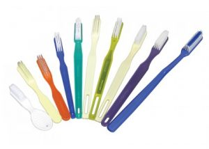 Toothbrush, 46 Tuft, White Nylon Bristles, Semi Trans Green