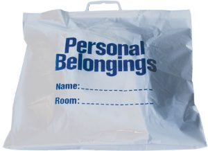 Belongings Bag with handle (white with blue imprint) 18 1/2″ x 20″