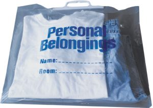 Belongings Bag with handle (clear with blue imprint) 18 1/2″ x 20″