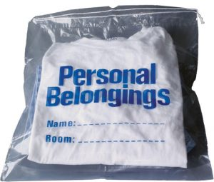 Belongings Bag with drawstring (clear with blue imprint) 17″ x 20″