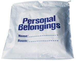 Belongings Bag with drawstring (white with blue imprint) 17″ x 20″