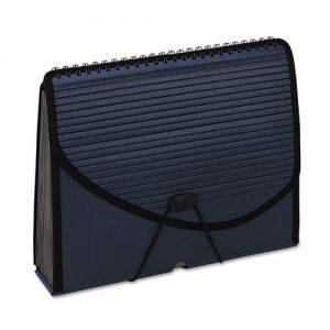 13-Pocket Expanding Spiral File, Letter, Foam Poly, Navy Blue