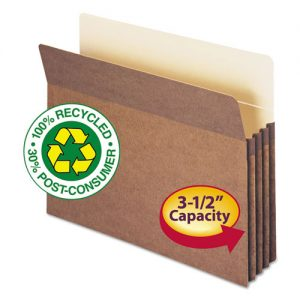 100% Recycled Pocket, 3 1/2 Inch Accordion Expansion, Letter, Redrope, 25/Box