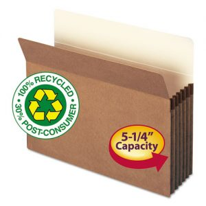 100% Recycled Pocket, 5 1/4 Inch Accordion Expansion, Letter, Redrope, 10/Box