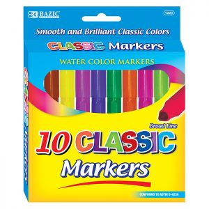 10 Classic Colors Broad Line Jumbo Watercolor Markers (10/Pack)
