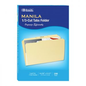 1/3 Cut Legal Size Manila File Folder (100/Box)