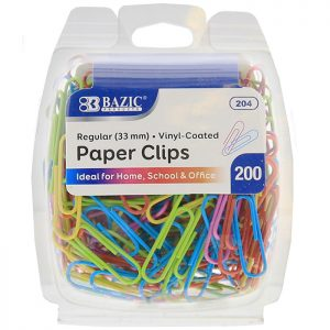 No.1 Regular (33mm) Color Paper Clips (200/Pack)