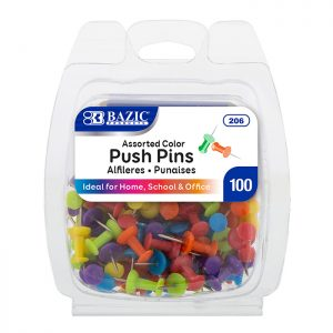 Push Pins Assorted Color (100/Pack)