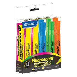 Desk Style Fluorescent Highlighters (12/Box)