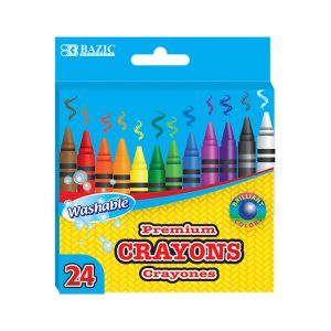 24 Color Washable Premium Crayons (24/Pack)