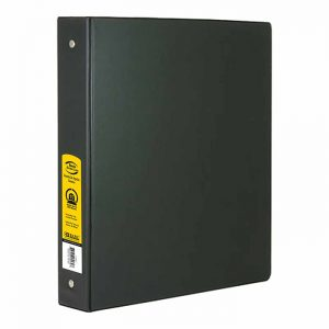 1.5″ Black 3-Ring Binder w/ 2-Pockets