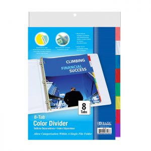 3-Ring Binder Dividers w/ 8-Insertable Color Tabs
