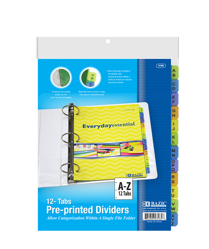 3-Ring Binder Dividers W/ 12-Preprinted A-Z Tab