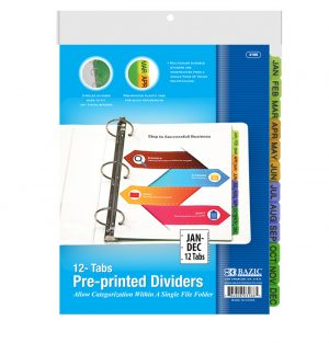 3-Ring Binder Dividers w/ 12-Preprinted Jan-Dec Tab