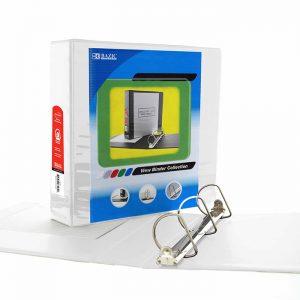 3″ White Slant-D Ring View Binder w/ 2-Pockets