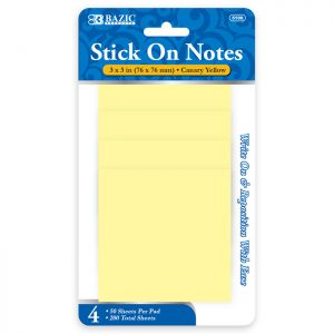 3″ X 3″ Yellow Stick On Notes 50 Ct. (4/Pack)
