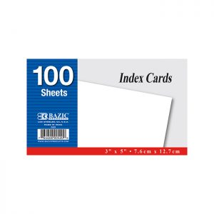3″ X 5″ Unruled White Index Card 100 Ct. (100/Pack)