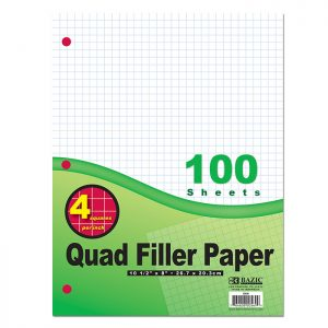 4-1″ Quad-Ruled Filler Paper 100 Ct. (100/Pack)