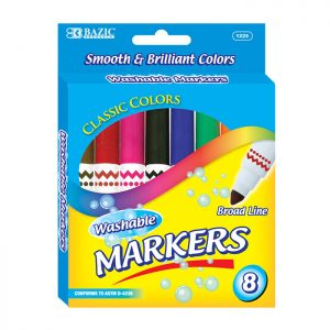 8 Color Broad Line Jumbo Washable Markers (8/Pack)