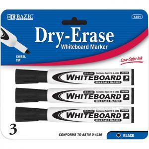 Chisel Tip Dry-Erase Markers Black (3/Pack)