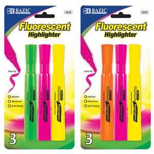 Desk Style Fluorescent Highlighters (3/Pack)
