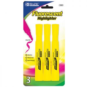 Desk Style Fluorescent Highlighters, Yellow (3/Pack)