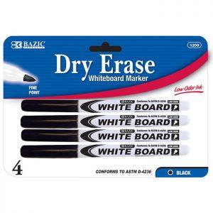 Fine Tip Dry-Erase Marker Black (4/Pack)