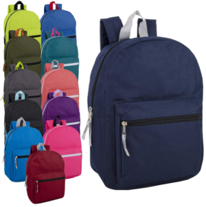 Wholesale 15 Inch Basic Backpack – 12 Colors